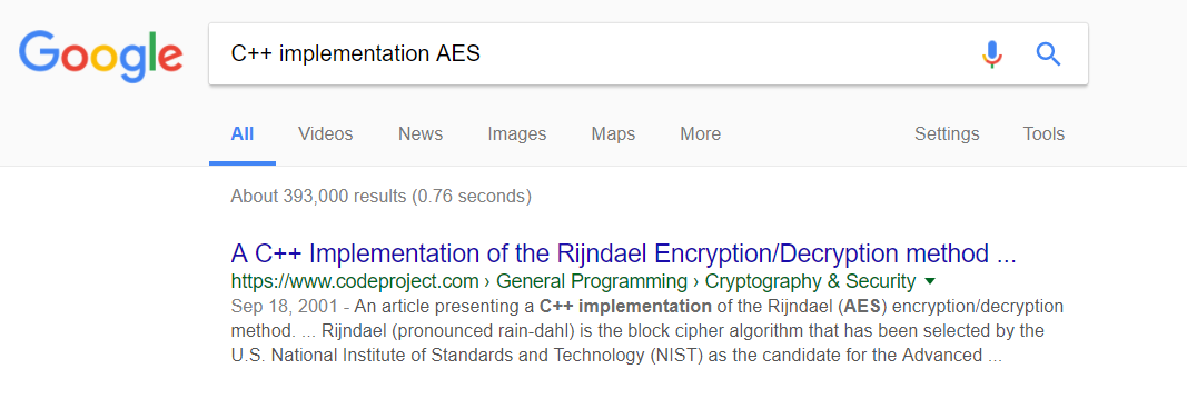 C++ Implementation AES