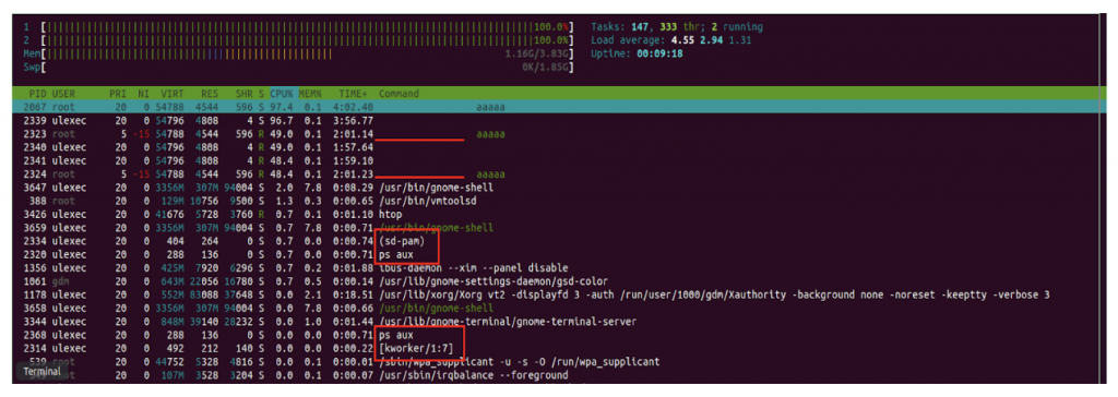 htop of a compromised system